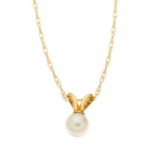 14k Gold Cultured Pearl Pendant - Kids