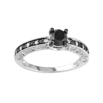 1 Carat T.W. Black and White Diamond Sterling Silver Ring