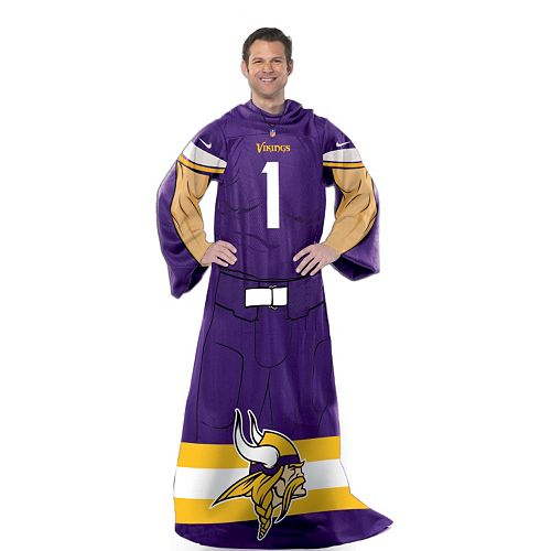 Minnesota Vikings Uniform Comfy Throw Blanket with Sleeves by Northwest