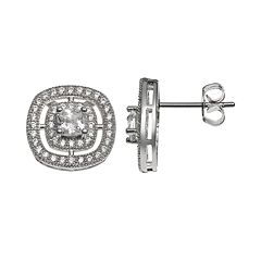 The Silver Lining Cubic Zirconia Silver Tone Square Stud Earrings