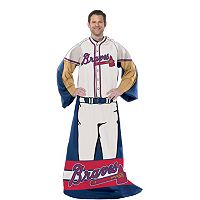 Atlanta Braves Uniform Comfy Throw Blanket with Sleeves by Northwest