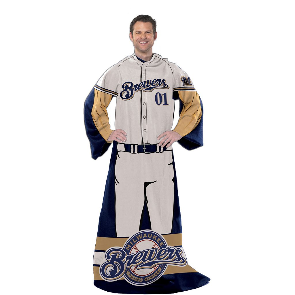Milwaukee Brewers Uniform Comfy Throw Blanket with Sleeves by Northwest