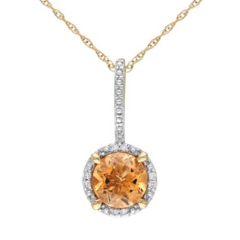 Citrine and Diamond Accent 10k Gold Halo Pendant Necklace