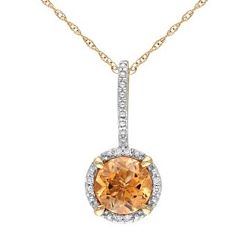 Citrine & Diamond Accent 10k Gold Halo Pendant Necklace