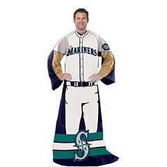 Seattle Mariners Uniform Comfy Throw Blanket with Sleeves by Northwest