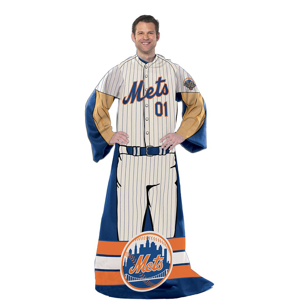 New York Mets Uniform Comfy Throw Blanket with Sleeves by Northwest