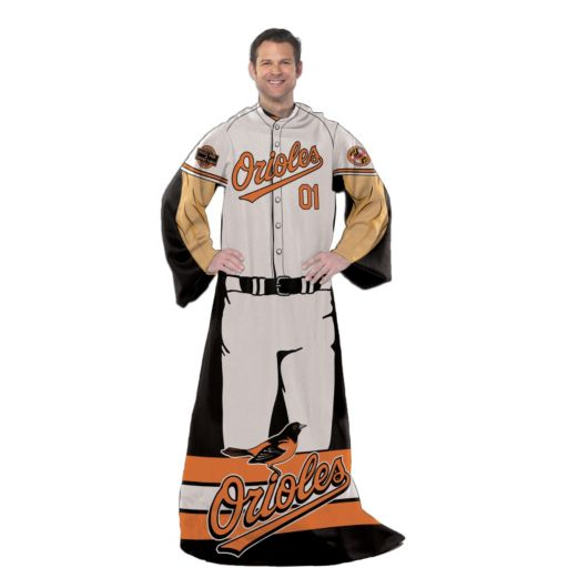 Baltimore Orioles Uniform Comfy Throw Blanket with Sleeves by Northwest