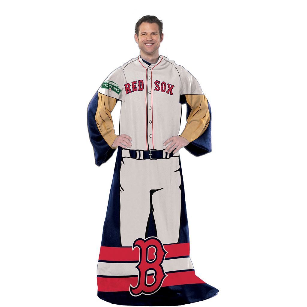 Boston Red Sox Uniform Comfy Throw Blanket with Sleeves by Northwest