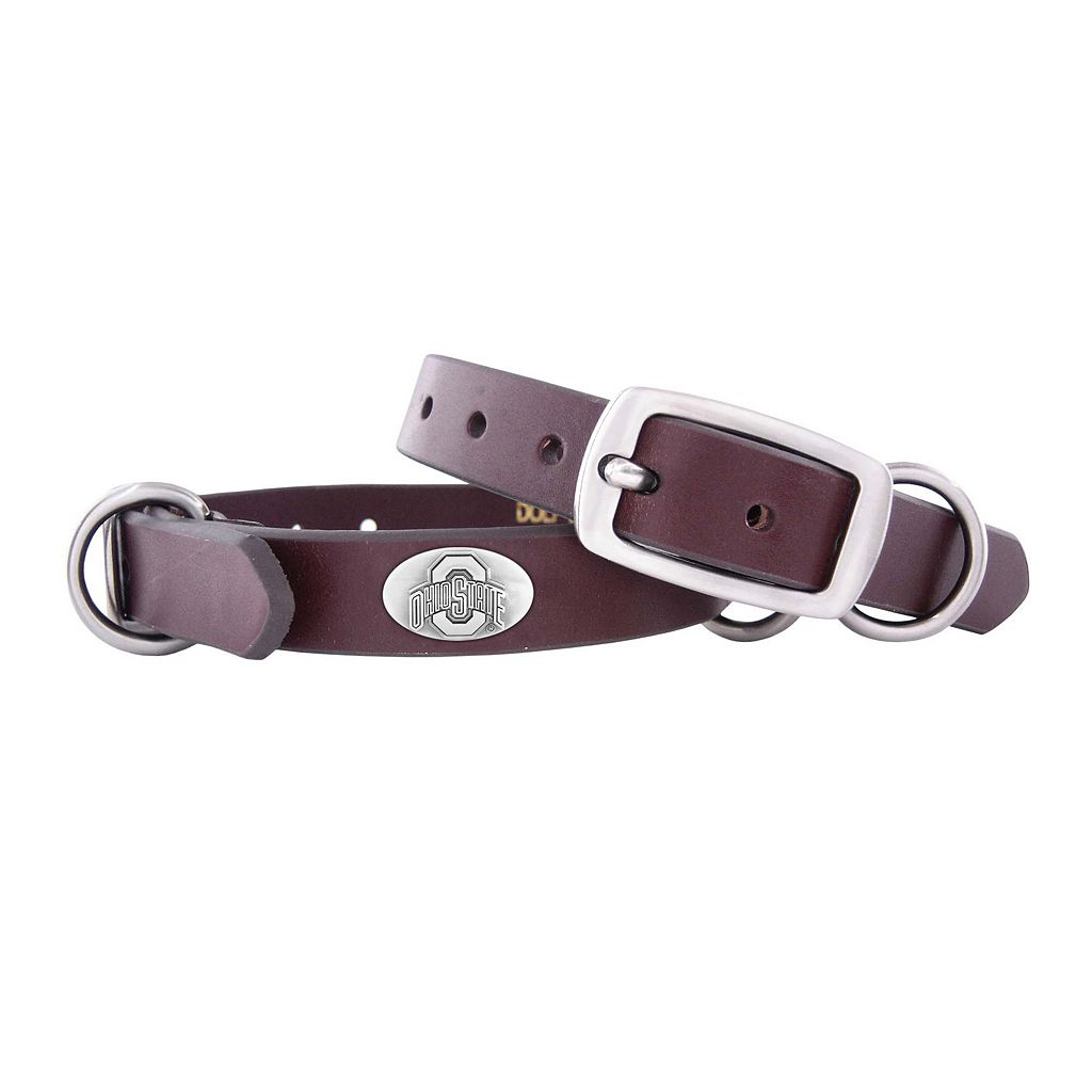 Zep-Pro Ohio State Buckeyes Concho Leather Dog Collar - XS