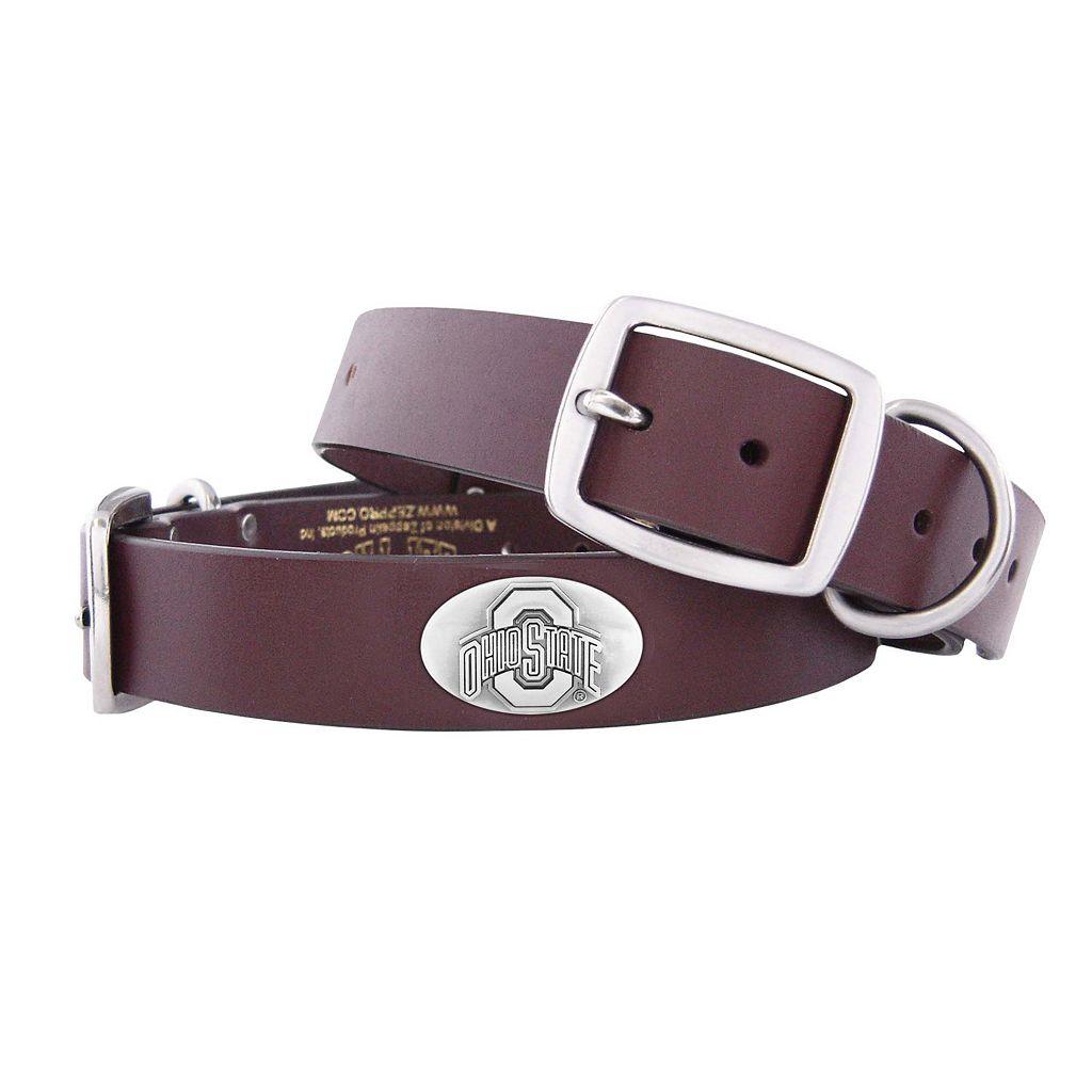 Zep-Pro Ohio State Buckeyes Concho Leather Dog Collar - L