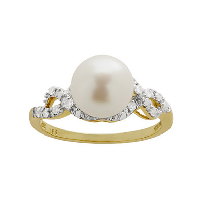 PearLustre by Imperial Freshwater Cultured Pearl and 1/8 Carat T.W. Diamond 10k Gold Ring