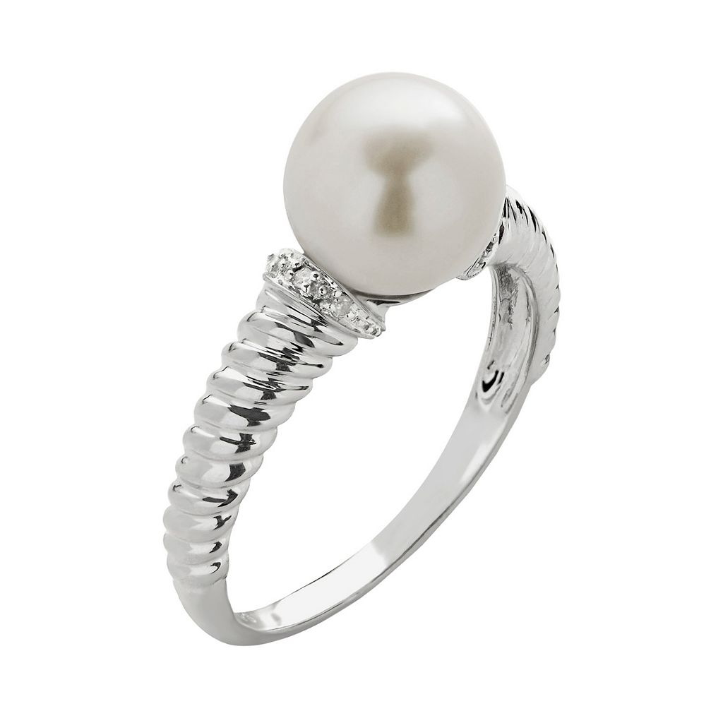 PearLustre by Imperial Freshwater Cultured Pearl and Diamond Accent 10k White Gold Ring