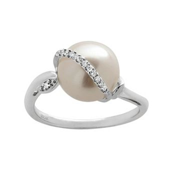 PearLustre by Imperial Freshwater Cultured Pearl and Diamond Accent 14k White Gold Ring