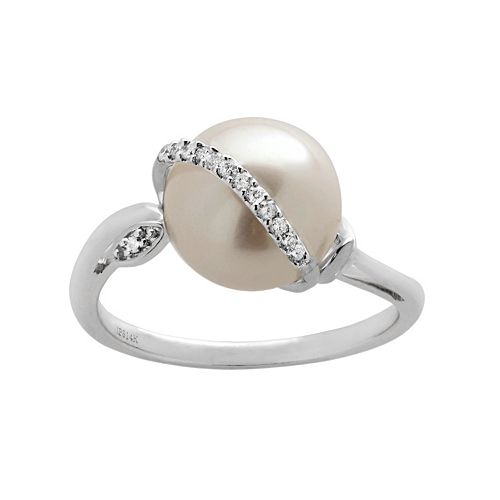 PearLustre by Imperial Freshwater Cultured Pearl & Diamond Accent 14k White Gold Ring