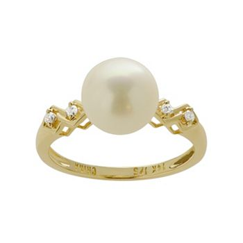 PearLustre by Imperial Freshwater Cultured Pearl and Diamond Accent 14k Gold Ring