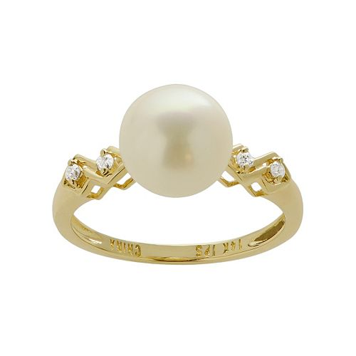 PearLustre by Imperial Freshwater Cultured Pearl & Diamond Accent 14k Gold Ring