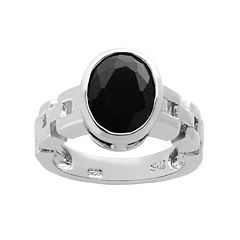 Onyx Sterling Silver Chain Link Ring