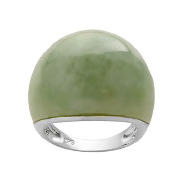 Chinese Jade Sterling Silver Dome Ring