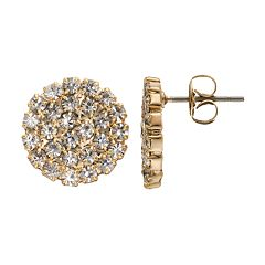 Duchess of Dazzle Crystal 14k Gold-Plated Circle Stud Earrings