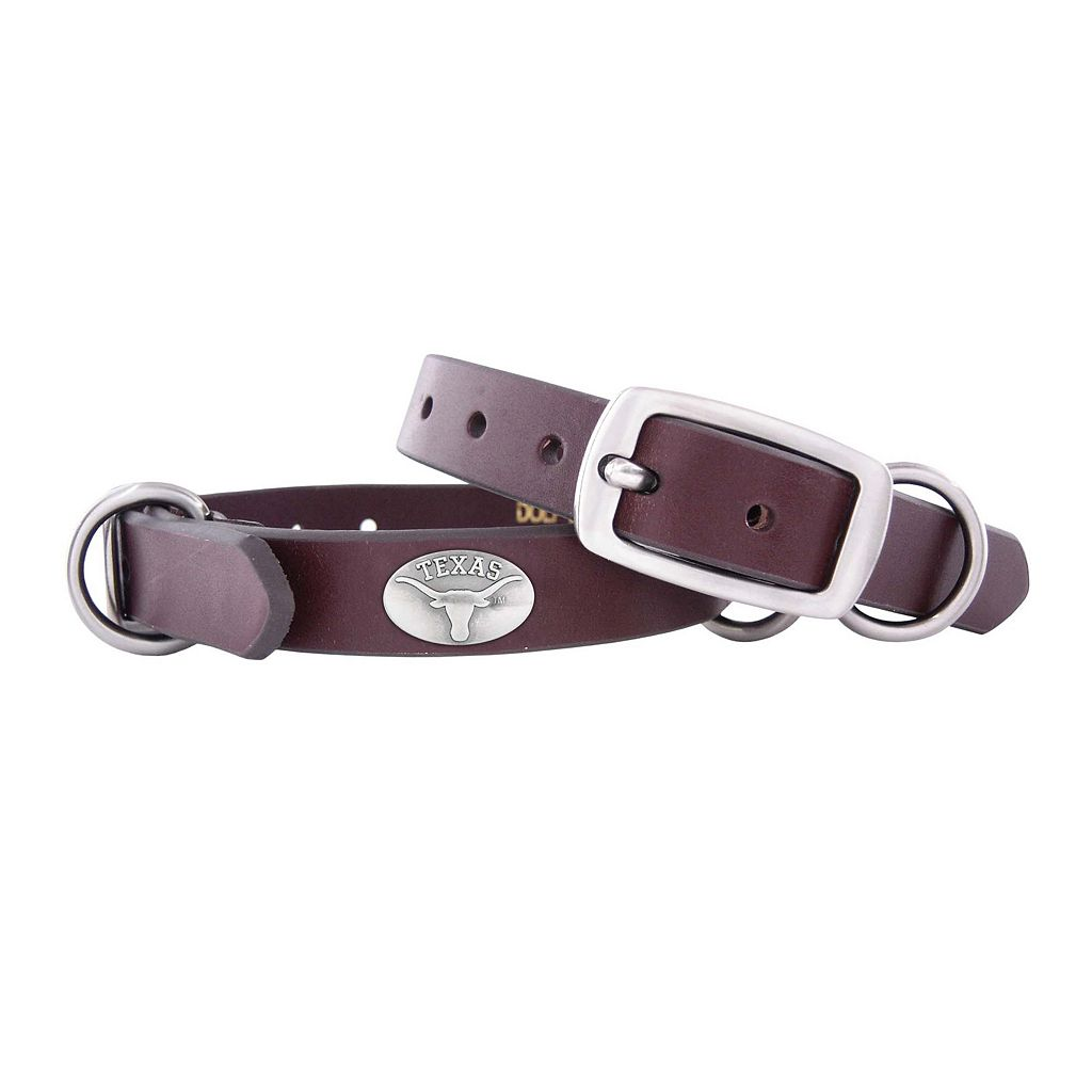 Zep-Pro Texas Longhorns Concho Leather Dog Collar - S