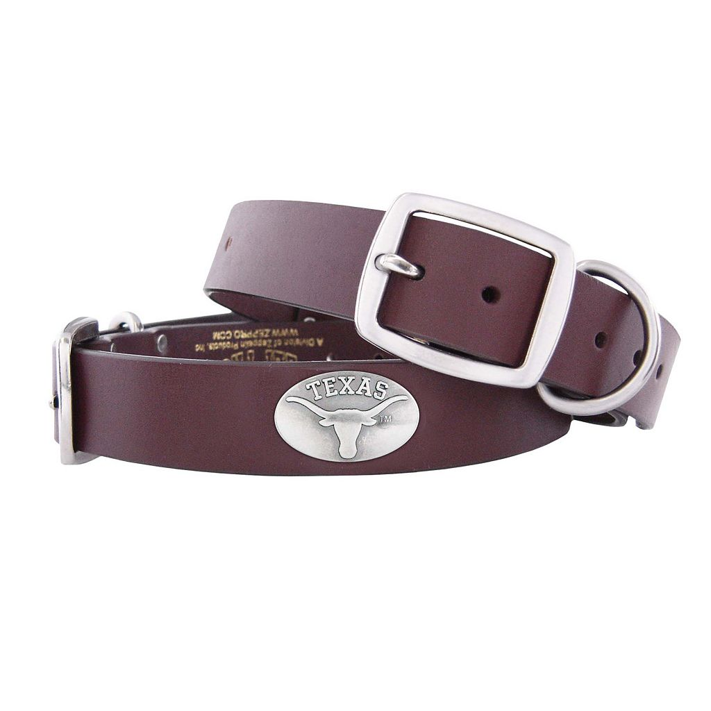 Zep-Pro Texas Longhorns Concho Leather Dog Collar - M