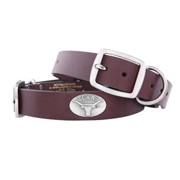 Zep-Pro Texas Longhorns Concho Leather Dog Collar - L