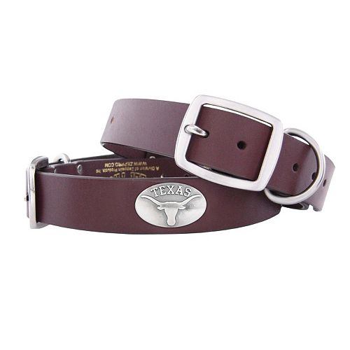 Zep-Pro Texas Longhorns Concho Leather Dog Collar - L