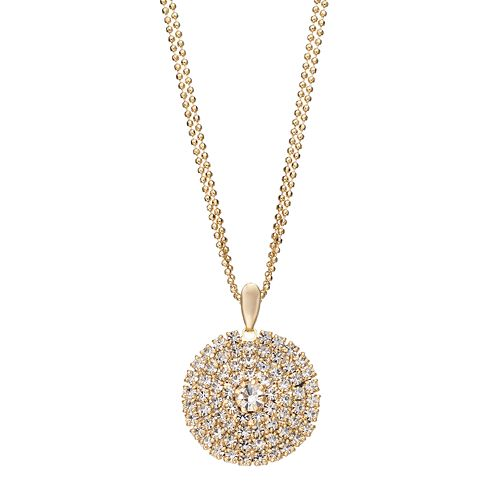 Duchess of Dazzle Crystal 14k Gold-Plated Circle Pendant Necklace
