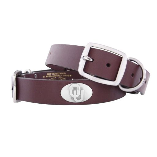 Zep-Pro Oklahoma Sooners Concho Leather Dog Collar - M