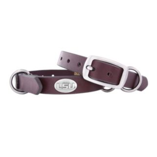 Zep-Pro LSU Tigers Concho Leather Dog Collar - XS
