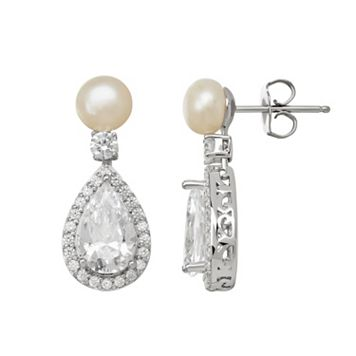 Emotions Cubic Zirconia & Simulated Pearl Sterling Silver Teardrop Earrings - Made with Swarovski Cubic Zirconia