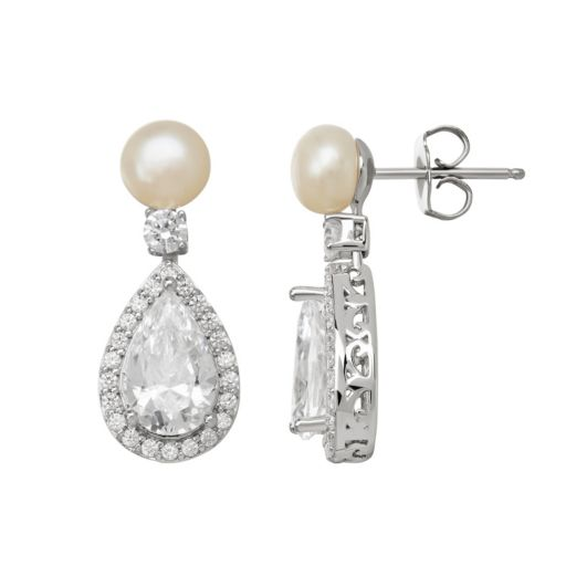 Emotions Cubic Zirconia and Simulated Pearl Sterling Silver Teardrop Earrings - Made with Swarovski Cubic Zirconia