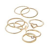 LC Lauren Conrad Heart, Sideways Cross & Textured Midi Ring Set