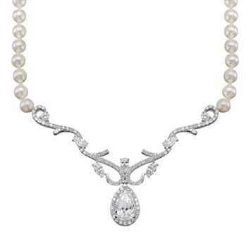 Emotions Cubic Zirconia & Simulated Pearl Sterling Silver Necklace