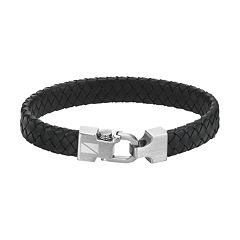AXL by Triton Stainless Steel Leather Bracelet - Men