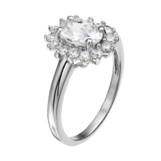 The Silver Lining Cubic Zirconia Silver Tone Flower Halo Ring