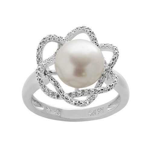 PearLustre by Imperial Freshwater Cultured Pearl & Diamond Accent Sterling Silver Flower Ring