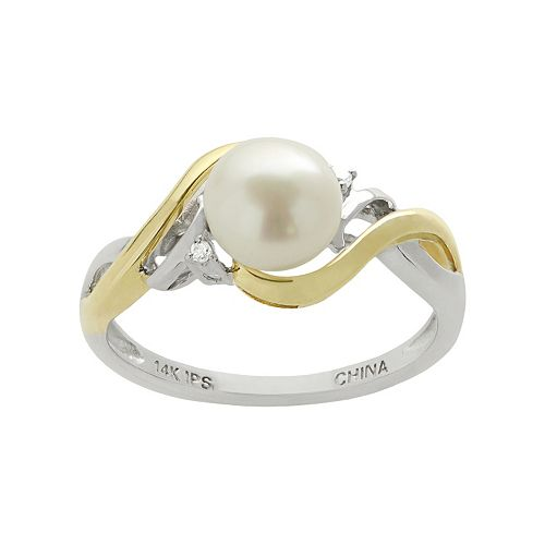 PearLustre by Imperial Freshwater Cultured Pearl & Diamond Accent 14k Gold Two Tone Ring