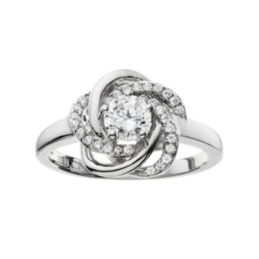 The Silver Lining Cubic Zirconia Silver Tone Love Knot Ring