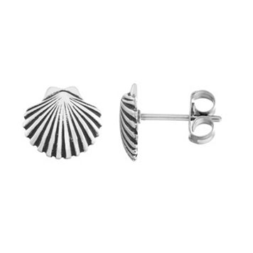 Journee Collection Sterling Silver Shell Stud Earrings