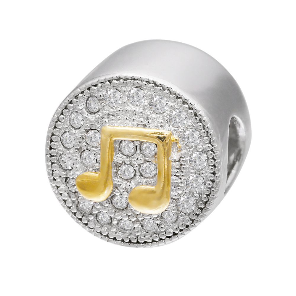 Individuality Beads Sterling Silver & 14k Gold Over Silver Crystal Music Note Bead