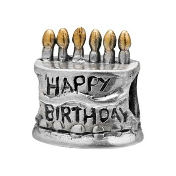 Individuality Beads Sterling Silver & 14k Gold Over Silver Birthday Cake Bead