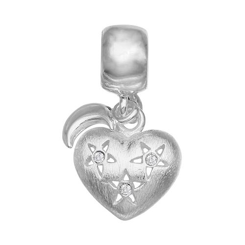 Individuality Beads Crystal Sterling Silver Heart & Moon Charm