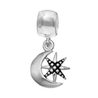 Individuality Beads Sterling Silver Star Crescent Moon and Star Charm