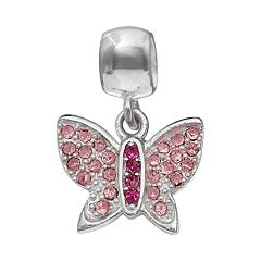 Individuality Beads Crystal Sterling Silver Butterfly Charm