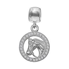 Individuality Beads Cubic Zirconia Sterling Silver Horse Charm