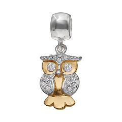 Individuality Beads Crystal Sterling Silver & 14k Gold Over Silver Owl Charm
