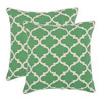 Suzy 2 pc Green Throw Pillow Set