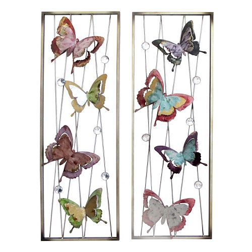 2-piece Butterfly Metal Wall Decor Panel Set