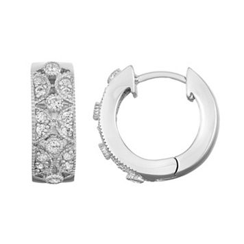 Journee Collection Sterling Silver Cubic Zirconia Scalloped Huggie Hoop Earrings
